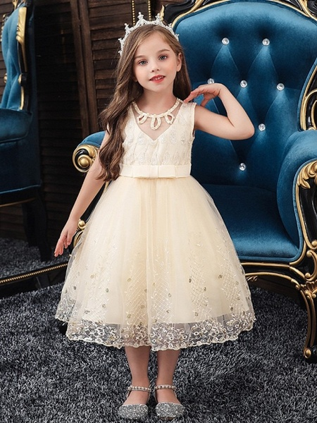 Princess / Ball Gown Knee Length Wedding / Party Flower Girl Dresses - Tulle Sleeveless Jewel Neck With Sash / Ribbon / Bow(S) / Beading_1