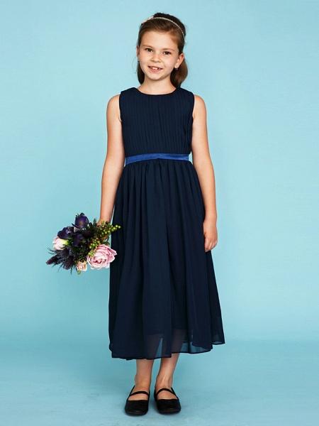 Princess / A-Line Crew Neck Tea Length Chiffon Junior Bridesmaid Dress With Sash / Ribbon / Draping / Wedding Party_1