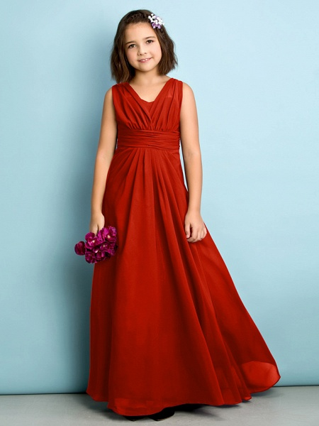 A-Line V Neck Floor Length Chiffon Junior Bridesmaid Dress With Criss Cross / Natural / Mini Me_13