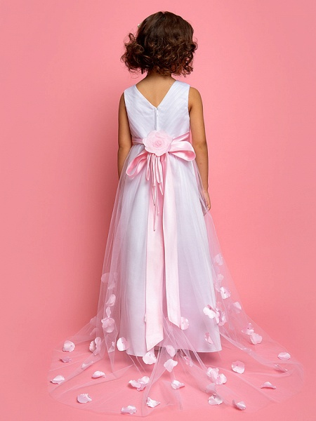 A-Line Sweep / Brush Train Satin / Tulle Sleeveless V Neck With Bow(S)_3