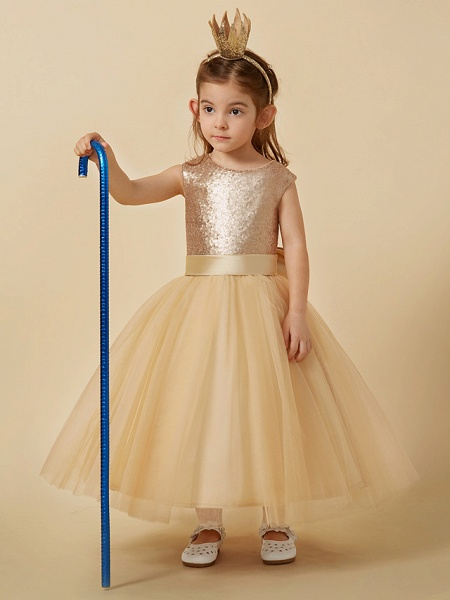 Princess Ankle Length Pageant Flower Girl Dresses - Tulle / Sequined Sleeveless Jewel Neck With Sash / Ribbon / Bow(S)_4