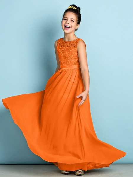 A-Line Scoop Neck Floor Length Chiffon / Lace Junior Bridesmaid Dress With Lace / Natural / Mini Me_17