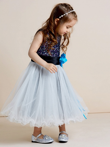 A-Line Tea Length Tulle / Sequined Sleeveless Jewel Neck With Sash / Ribbon / Sequin / Draping / Mini Me_9