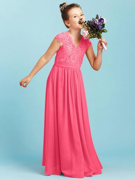 Princess / A-Line V Neck Floor Length Chiffon / Lace Junior Bridesmaid Dress With Sash / Ribbon / Pleats / Wedding Party_23