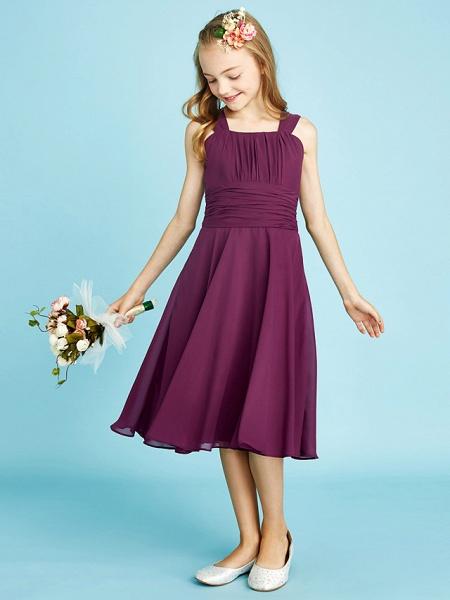 A-Line Straps Knee Length Chiffon Junior Bridesmaid Dress With Sash / Ribbon / Ruched / Draping / Natural_5