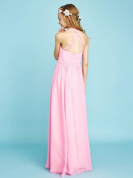 A-Line Halter Neck Floor Length Chiffon Junior Bridesmaid Dress With Sash / Ribbon / Natural_2
