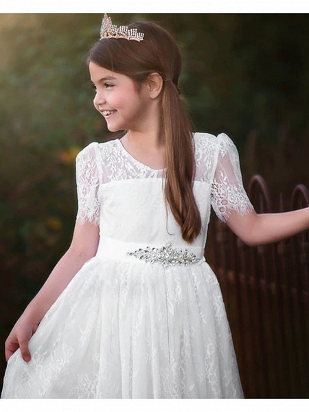 A-Line Asymmetrical Wedding Flower Girl Dresses - Satin / Taffeta / Tulle Short Sleeve V Neck With Sash / Ribbon / Tier / Solid_3