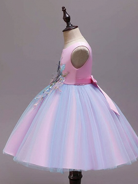 Princess Knee Length Wedding / Party / Pageant Flower Girl Dresses - Satin / Tulle / Cotton Sleeveless Jewel Neck With Belt / Embroidery / Appliques_7