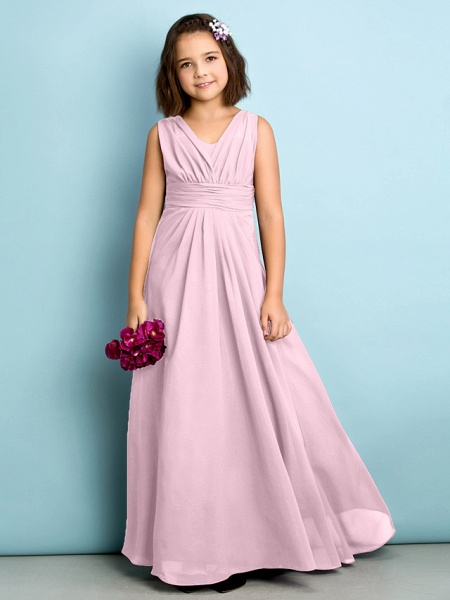 A-Line V Neck Floor Length Chiffon Junior Bridesmaid Dress With Criss Cross / Natural / Mini Me_9