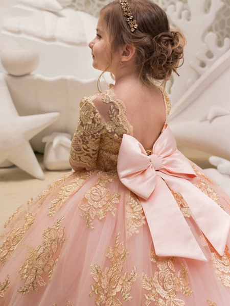 Princess / Ball Gown Floor Length Wedding / Party Flower Girl Dresses - Tulle Half Sleeve Jewel Neck With Bow(S) / Appliques_3