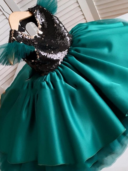 Princess / A-Line Floor Length Party / Birthday Flower Girl Dresses - Satin Short Sleeve Jewel Neck With Splicing / Paillette_2