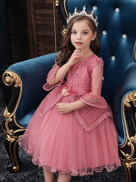 Princess / Ball Gown Knee Length Wedding / Party Flower Girl Dresses - Tulle Long Sleeve Jewel Neck With Sash / Ribbon / Bow(S) / Beading_2