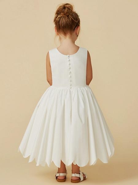 A-Line Tea Length Wedding / First Communion Flower Girl Dresses - Taffeta Sleeveless Jewel Neck With Sash / Ribbon / Pleats_8