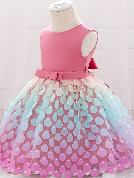 Princess / Ball Gown Knee Length Wedding / Party Flower Girl Dresses - Satin / Tulle Sleeveless Jewel Neck With Sash / Ribbon / Bow(S)_4