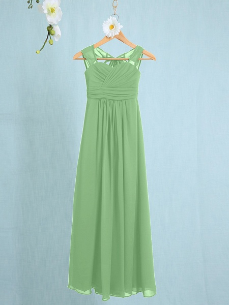 Sheath / Column Straps Ankle Length Chiffon Junior Bridesmaid Dress With Ruched / Natural_26