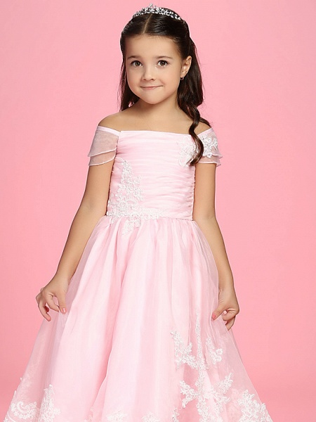 Princess / A-Line Ankle Length First Communion / Wedding Party Organza Short Sleeve Bateau Neck / Off Shoulder With Bow(S) / Ruched / Appliques / Spring / Summer / Fall_5
