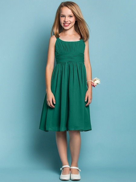 Sheath / Column Straps Knee Length Chiffon Junior Bridesmaid Dress With Ruched / Draping / Spring / Summer / Fall / Apple / Hourglass_25