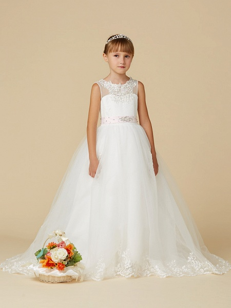 Princess Sweep / Brush Train Wedding / First Communion Flower Girl Dresses - Lace / Tulle Sleeveless Jewel Neck With Belt / Beading / Appliques_4