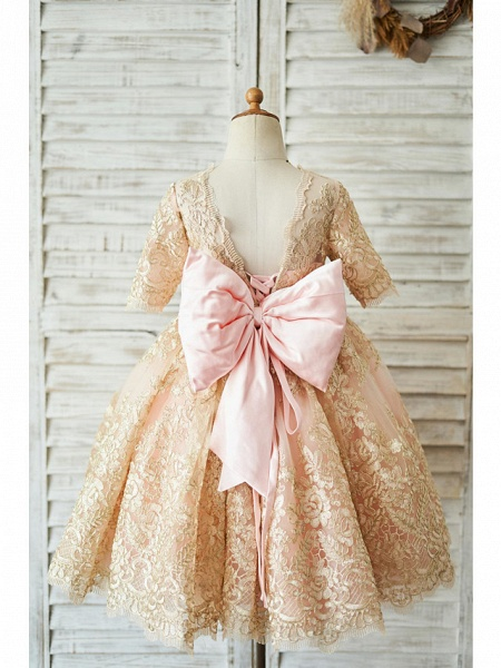 Ball Gown Knee Length Wedding / Birthday Flower Girl Dresses - Lace Half Sleeve Jewel Neck With Bows / Belt_2