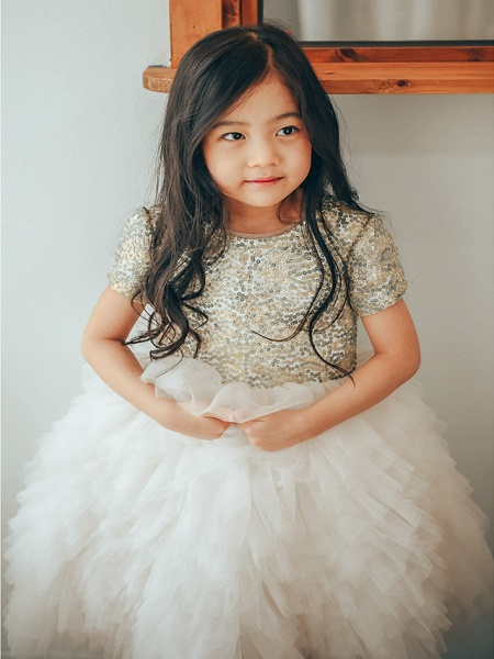 Ball Gown Ankle Length Wedding / Birthday / Pageant Flower Girl Dresses - Tulle / Sequined Short Sleeve Jewel Neck With Paillette_1