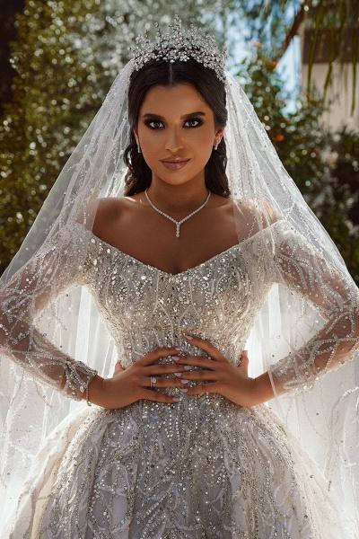 Luxurious Sequins Long Sleeve Satin Ball Gown Wedding Dress_4