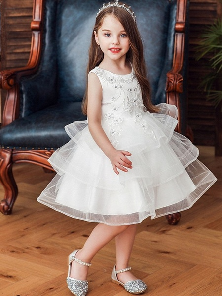 Princess / Ball Gown Knee Length Wedding / Party Flower Girl Dresses - Satin / Tulle Sleeveless Jewel Neck With Bow(S) / Beading / Tier_4