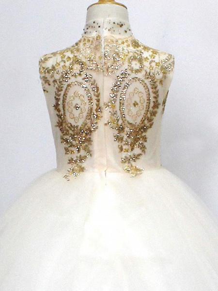 Princess Sweep / Brush Train Wedding / Birthday / Pageant Flower Girl Dresses - Tulle Sleeveless High Neck With Crystals / Rhinestones_3