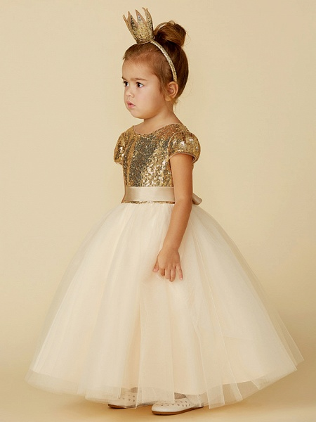 Princess Floor Length Wedding / Party / Pageant Flower Girl Dresses - Tulle / Sequined Short Sleeve Jewel Neck With Sash / Ribbon / Sequin_6