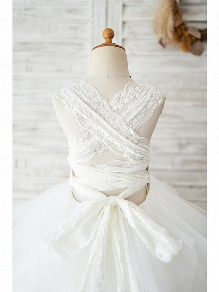Ball Gown Floor Length Wedding / Birthday Flower Girl Dresses - Lace / Tulle Sleeveless Jewel Neck With Tiered_4