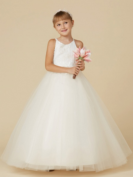 Princess Floor Length Wedding / First Communion / Pageant Flower Girl Dresses - Lace / Tulle Sleeveless Spaghetti Strap With Bow(S) / Appliques_4