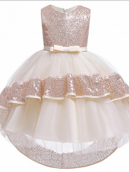 Ball Gown Ankle Length Pageant Flower Girl Dresses - Polyester Sleeveless Jewel Neck With Bow(S) / Appliques_3