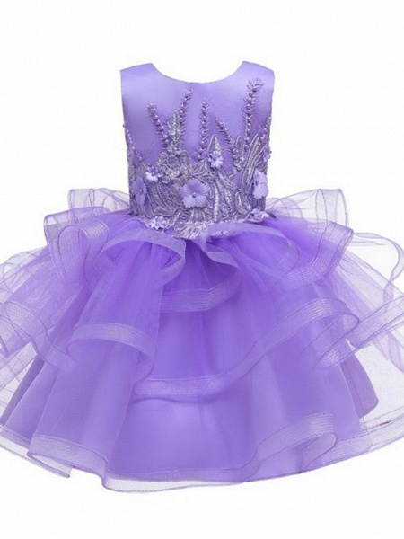 Princess / Ball Gown Knee Length Wedding / Party Flower Girl Dresses - Tulle Sleeveless Jewel Neck With Bow(S) / Appliques / Cascading Ruffles_5