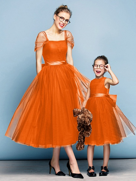 Princess Tea Length Party / Prom / Formal Evening Flower Girl Dresses - Tulle Short Sleeve Square Neck With Bow(S) / Ruched / Elegant_16
