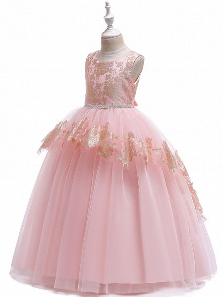 Princess Floor Length Wedding / Party / Pageant Flower Girl Dresses - Lace / Satin / Tulle Sleeveless Jewel Neck With Belt / Crystals / Beading_6