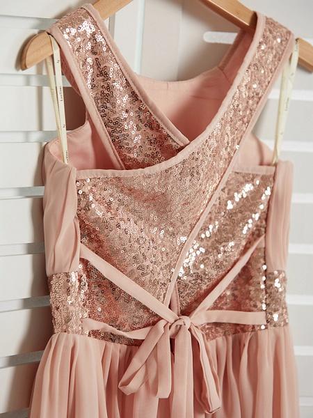 A-Line Jewel Neck Maxi Chiffon Junior Bridesmaid Dress With Lace / Sash / Ribbon_5