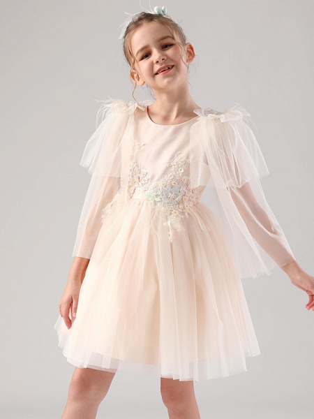 Princess / Ball Gown Royal Length Train / Medium Length Event / Party / Birthday Flower Girl Dresses - Satin / Tulle 3/4 Length Sleeve Jewel Neck With Feathers / Fur / Appliques / Butterfly_3