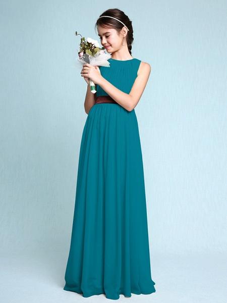 Sheath / Column Scoop Neck Floor Length Chiffon Junior Bridesmaid Dress With Draping / Natural_28