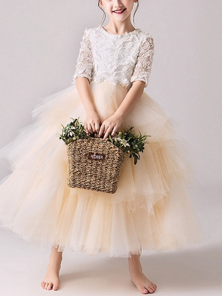Ball Gown Ankle Length Pageant Flower Girl Dresses - Tulle Half Sleeve Jewel Neck With Tier / Appliques_3