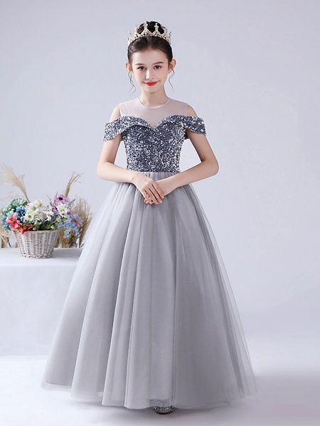 Ball Gown Floor Length Party / Birthday Hanfu / Flower Girl Dresses - Tulle / Sequined Sleeveless Off Shoulder / Jewel Neck With Paillette_2