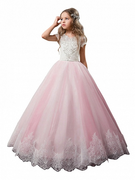 Princess Floor Length Wedding / Birthday / First Communion Flower Girl Dresses - Cotton / Nylon With A Hint Of Stretch / Lace / Tulle Short Sleeve Jewel Neck With Lace / Crystals / Rhinestones_3