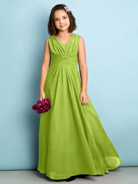 A-Line V Neck Floor Length Chiffon Junior Bridesmaid Dress With Criss Cross / Natural / Mini Me_27