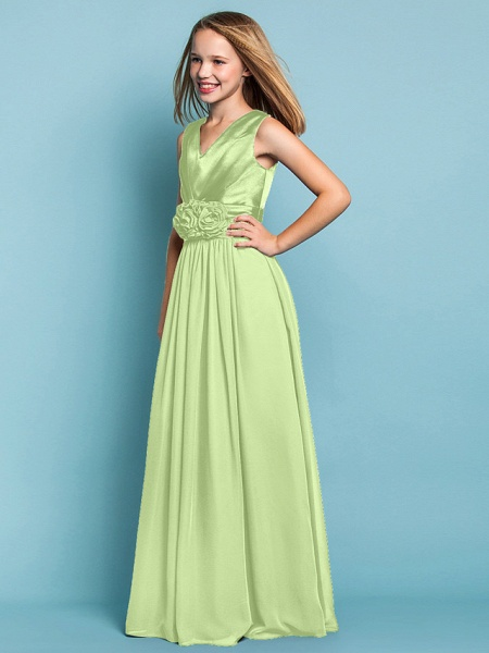 Sheath / Column V Neck Floor Length Chiffon Junior Bridesmaid Dress With Flower / Spring / Summer / Fall / Apple / Hourglass_29