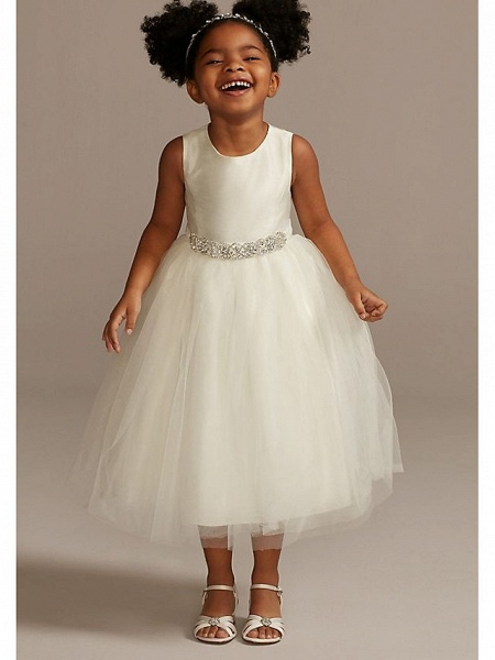 A-Line Ankle Length Wedding Flower Girl Dresses - Tulle Sleeveless Jewel Neck With Beading / Solid_1