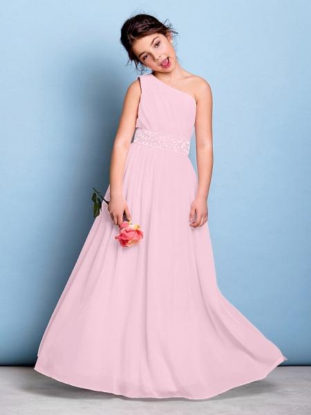 A-Line One Shoulder Floor Length Chiffon Junior Bridesmaid Dress With Sash / Ribbon / Beading / Side Draping / Natural_10