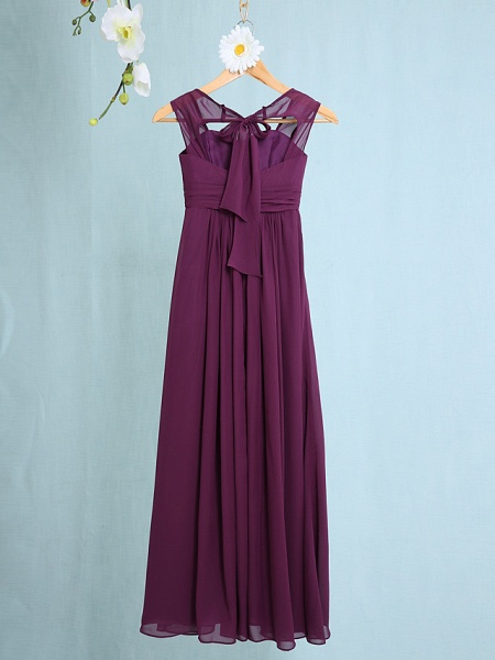 Sheath / Column Straps Ankle Length Chiffon Junior Bridesmaid Dress With Ruched / Natural_2