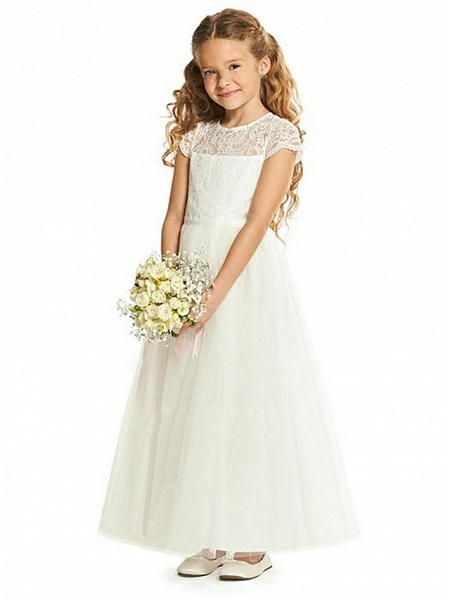 Sheath / Column Floor Length Wedding / Party Flower Girl Dresses - Lace / Tulle Cap Sleeve Jewel Neck With Tier_1