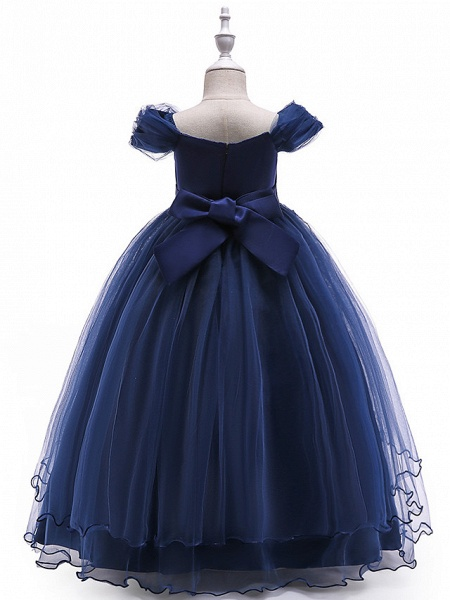 Ball Gown Floor Length Wedding / Party Flower Girl Dresses - Tulle Sleeveless Off Shoulder With Bow(S) / Solid / Tiered_3