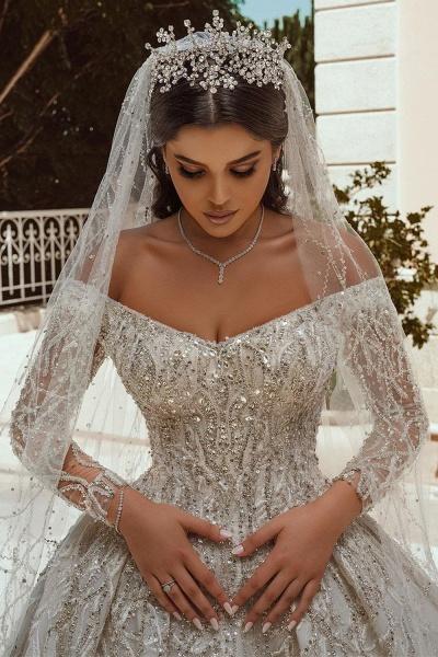 Luxurious Sequins Long Sleeve Satin Ball Gown Wedding Dress_3