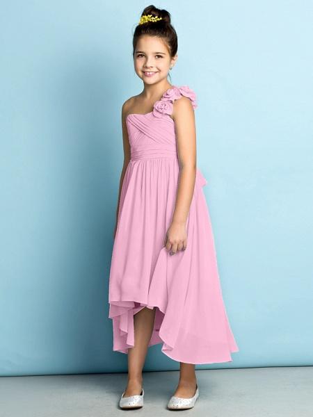 A-Line One Shoulder Asymmetrical Chiffon Junior Bridesmaid Dress With Criss Cross / Flower / Natural / Mini Me_14