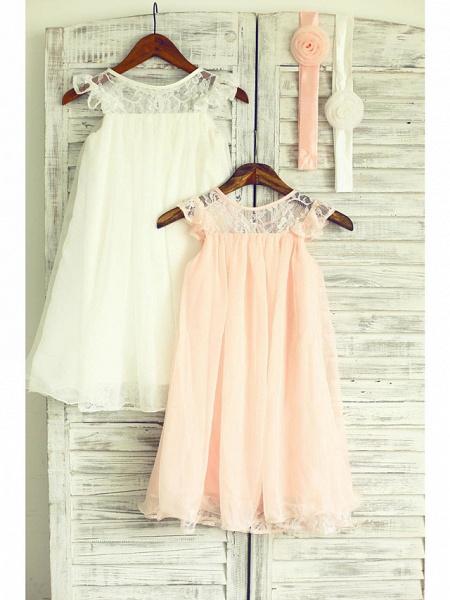 A-Line Tea Length Holiday Flower Girl Dresses - Chiffon / Lace Sleeveless Jewel Neck With Lace / Pleats_2